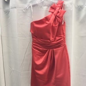 David's Bridal Satin Pink/Coral One Shoulder w Bow